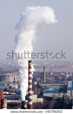 Industrial smoke stack of coal power plant - stock photo