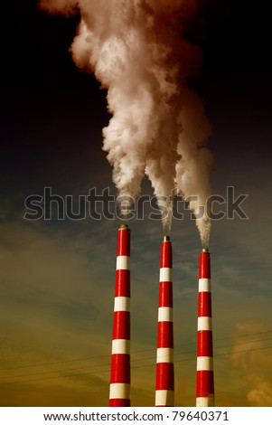 Industrial smoke stack of coal power plant. - stock photo