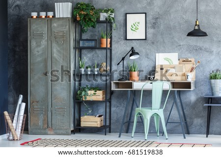 how to decorate industrial study desk