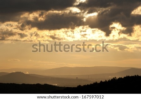 Industrial sunset - stock photo
