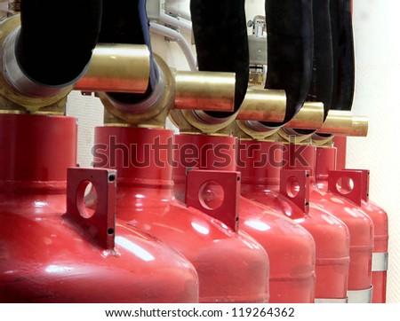 Industrial system of a gas fire extinguishing - stock photo