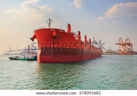 industrial tanker ship approaching to logistic industry port