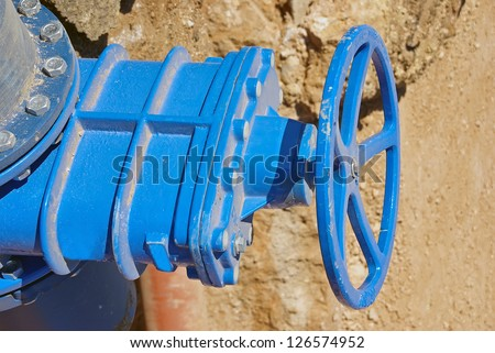 Industrial Tap on a gas pipe - stock photo