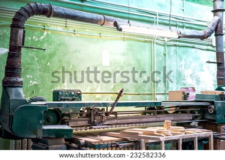 Industrial tools in local wood and furniture factory - stock photo