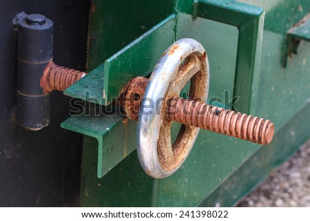 industrial valve in petrochemical factory close up - stock photo