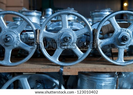 Industrial valves ready for dispatch on Euro pallet - stock photo