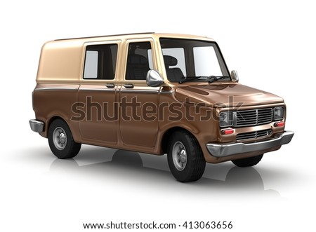 Industrial van on a white background. 3d illustration - stock photo