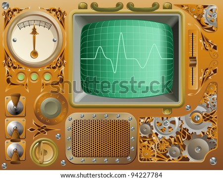 Industrial Victorian style grunge Steampunk media player illustration - stock photo