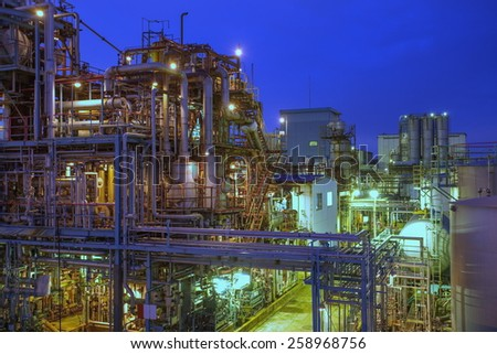 Industrial view at oil refinery plant form industry zone  - stock photo
