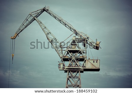 Industrial view in shipyard of Gdansk, Poland. Duho toned image. - stock photo