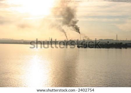 industrial view of havana harbour - stock photo