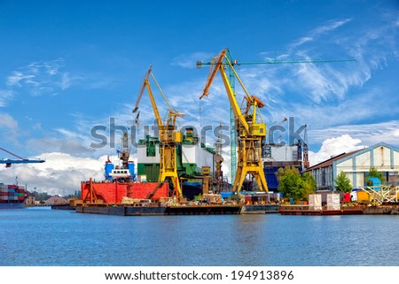 Industrial view of the Gdansk Shipyard, Poland. - stock photo