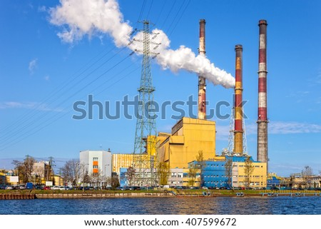 Industrial view - Thermal power station in Gdansk, Poland.  - stock photo