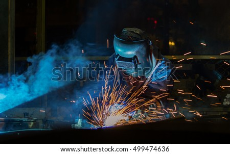Industrial Worker at the car factory is welding assembly automotive part, closeup