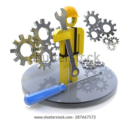 Industrial worker with wrench and gears