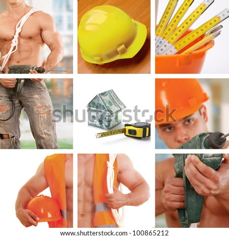 Industrial workers  collage - stock photo