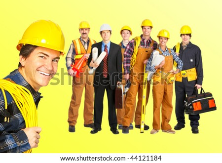 Industrial workers people. Over yellow background - stock photo