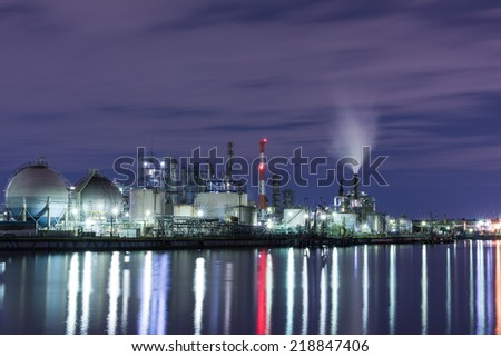 Industrial zone and canal at night