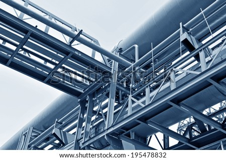 Industrial zone of steel pipe - stock photo
