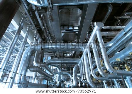 Industrial zone, Steel pipelines - stock photo