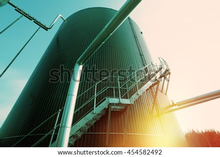 Industrial zone, Steel pipelines and equipment in green tones