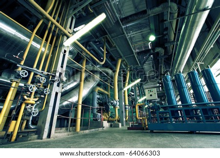Industrial zone, Steel pipelines, valves and equipment - stock photo