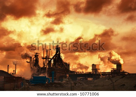 industry and sunset at night