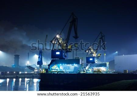 Industry at night(ijmuiden Netherlands) - stock photo