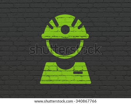 Industry concept: Painted green Factory Worker icon on Black Brick wall background - stock photo