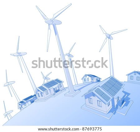Industry concept: wind-driven generators & houses with solar power systems. Bitmap copy my vector ID 18819319 - stock photo