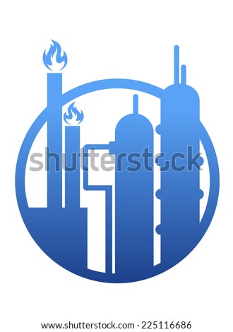 Industry icon showing a factory or petrochemical refinery plant with chimneys belching smoke and flames and stylized storage tanks in a circular frame - stock photo