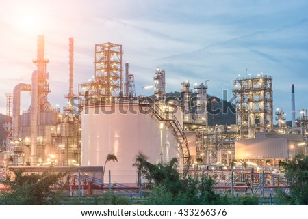 Industry Petrochemical plant in sunshine, overall view of an oil and gas refinery, pipelines and towers,