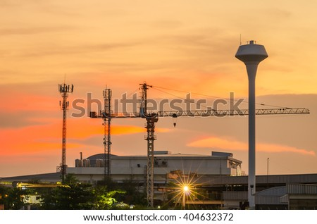 Industry plant with twilight landscape in the industrial park.