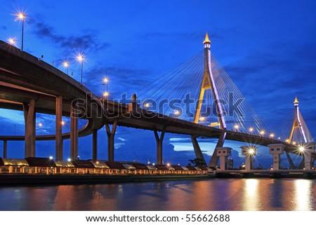 Industry Ring Suspending bridge,Bangkok, Thailand - stock photo