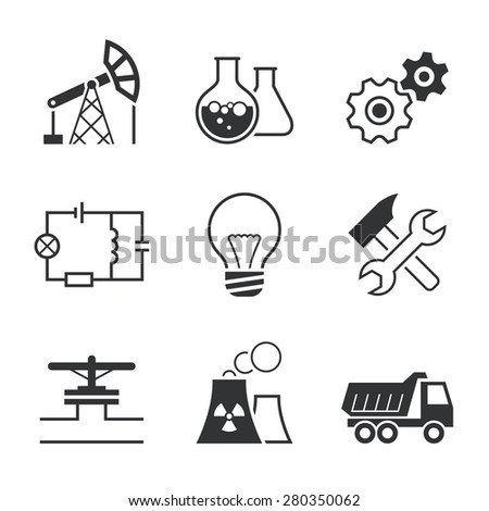Industry simple  icon set - oil extraction, chemistry, mechanics, electronics, lamp, assembling, pipe line, factory, truck - stock photo
