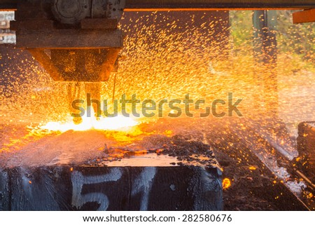 Industry steel, Background peeling of slab, Flakes flame by blowing gas.