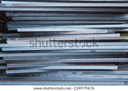 Industry steel, Stack of product steel, Steel plate. - stock photo