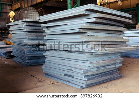 Industry steel, Stack of product steel, Steel plate.