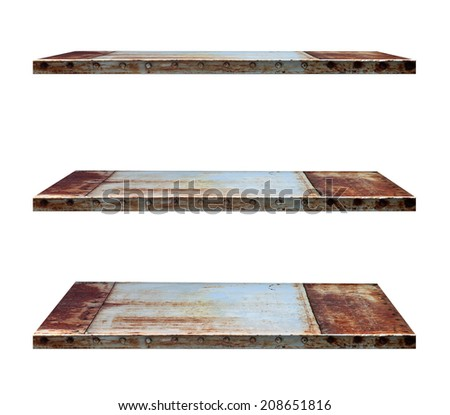 Industry style shelves made of steel, isolated on white background objects with clipping paths for design work - stock photo