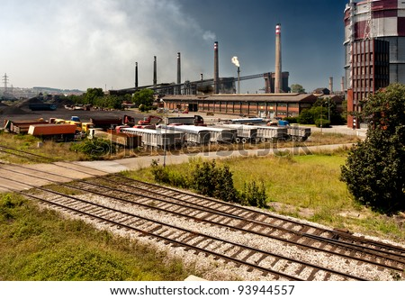 Industry trucks railway co2 chimney industrial building - stock photo