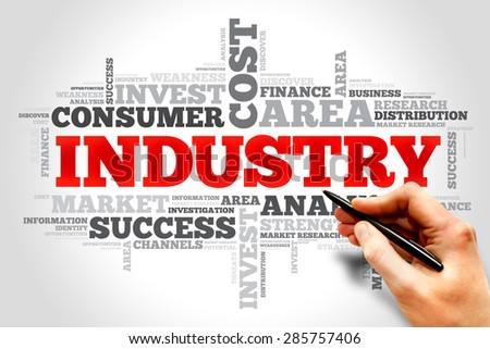 Industry word cloud, business concept - stock photo