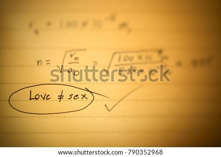 Inequality Of Love Not Equal To In Mathematical Equation Focus Text Love