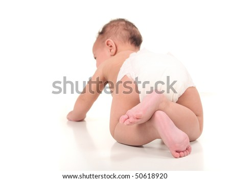 Infant Baby Boy Crawling From Behind - stock photo