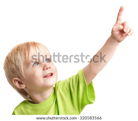 Infant boy one arm outstretched is pointing his finger - stock photo