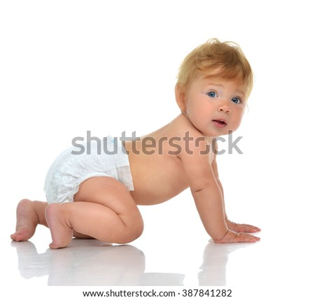Infant child baby girl in diaper crawling happy looking at the camera isolated on a white background - stock photo