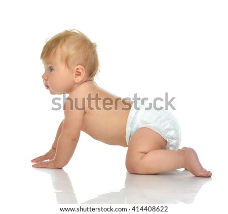 Infant child baby girl in diaper crawling happy smiling looking at the corner isolated on a white background