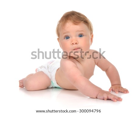 Infant child baby girl in diaper lying happy looking at the camera isolated on a white background - stock photo