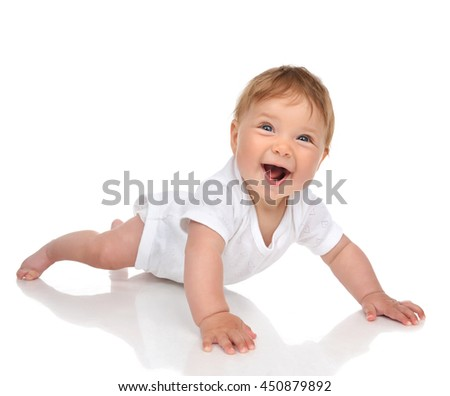 Infant child baby girl in diaper lying happy smiling looking at the camera isolated on a white background