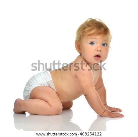 Infant child baby girl kid in diaper crawling happy looking at the camera isolated on a white background - stock photo