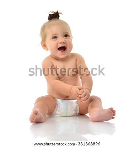 Infant child baby girl toddler sitting smiling laughing looking up isolated on a white background - stock photo